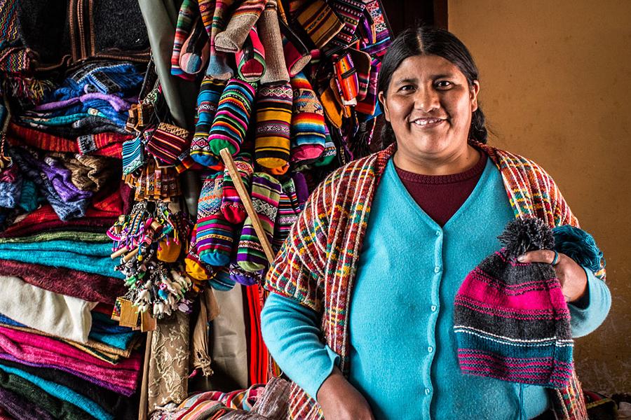 Veronica, a Bolivian artisan, knitting fpr Beyond Beanie