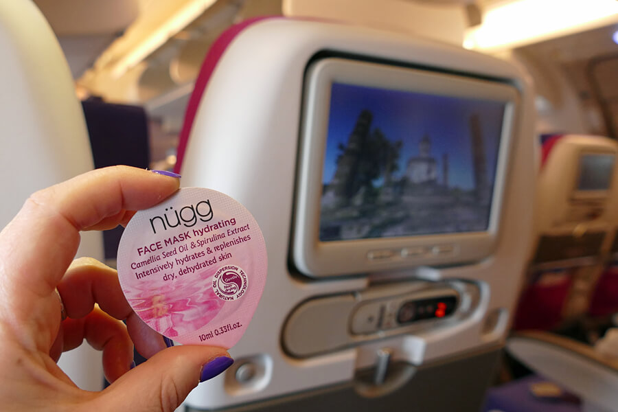 Nügg hydrating face mask, one of my top ten beauty tips for long haul flights   in flight skincare routine