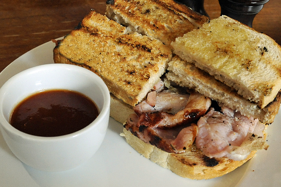 Bacon butties on an eating London food tour