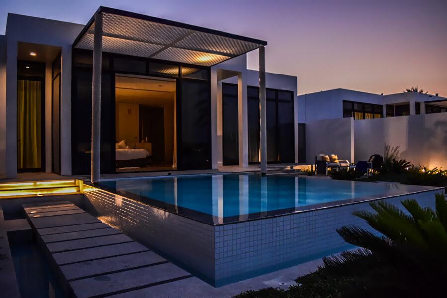 On bedroom Beach Villa by night, Zaya Nurai Island